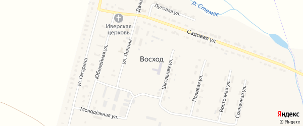 Дачная улица на карте поселка Восхода с номерами домов