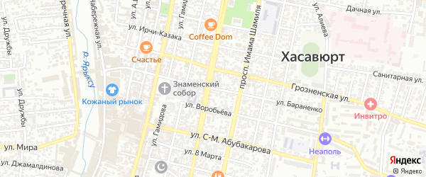 Улица Бараненко на карте Хасавюрта с номерами домов