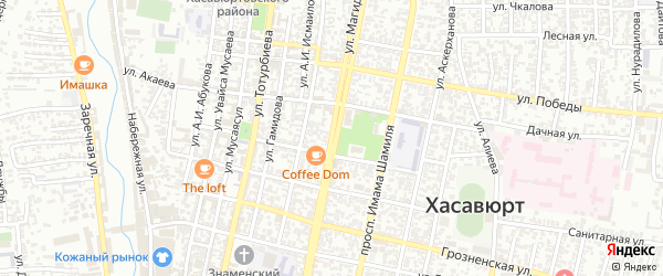 Улица Магидова на карте Хасавюрта с номерами домов