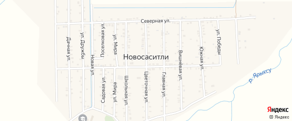 Главная улица на карте села Новососитли с номерами домов