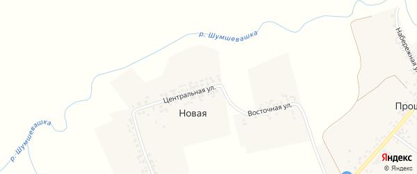Центральная улица на карте Новой деревни с номерами домов