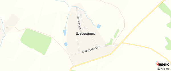 Карта деревни Шерашево в Чувашии с улицами и номерами домов
