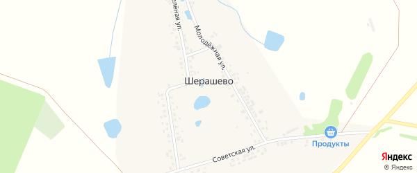 Зеленая улица на карте деревни Шерашево с номерами домов