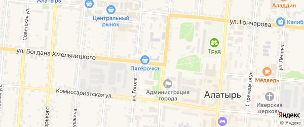Улица Б.Хмельницкого на карте Алатыря с номерами домов