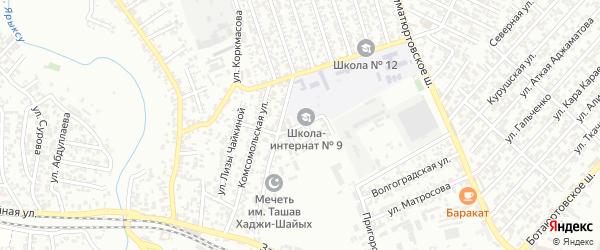 Школьный переулок на карте Хасавюрта с номерами домов