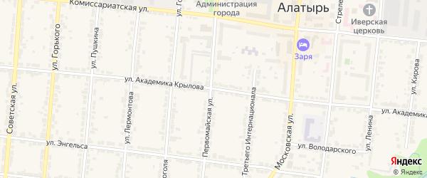 Улица Академика Крылова на карте Алатыря с номерами домов