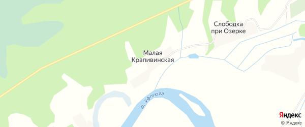 Карта Малой Крапивинской деревни в Архангельской области с улицами и номерами домов