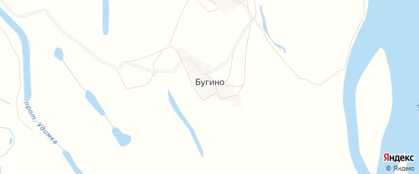 Карта деревни Бугино в Архангельской области с улицами и номерами домов