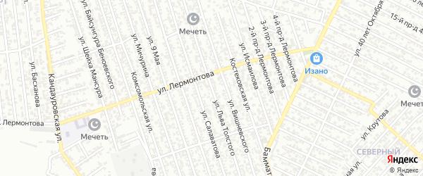 Улица Толстого на карте Хасавюрта с номерами домов