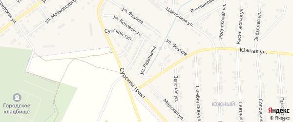 Улица Радищева на карте Алатыря с номерами домов