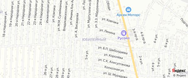 Улица Совхоз Юбилейный на карте Хасавюрта с номерами домов