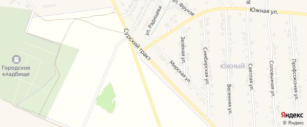 Сурский тракт на карте Алатыря с номерами домов