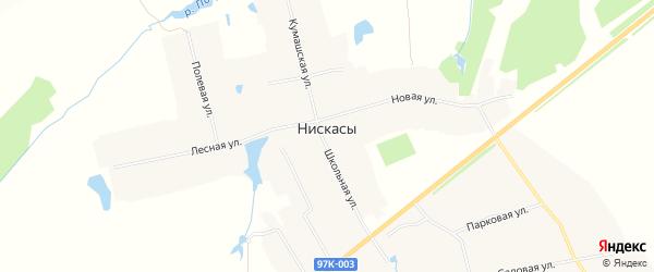 Карта деревни Нискасы в Чувашии с улицами и номерами домов