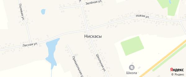Школьная улица на карте деревни Нискасы с номерами домов
