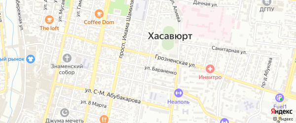 Улица Казияв-Али на карте Хасавюрта с номерами домов