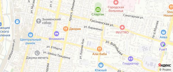 Улица Воробьева на карте Хасавюрта с номерами домов