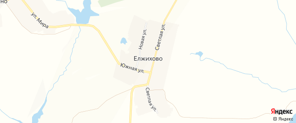 Карта деревни Елжихово в Чувашии с улицами и номерами домов