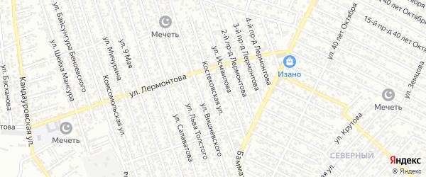 Костековская улица на карте Хасавюрта с номерами домов