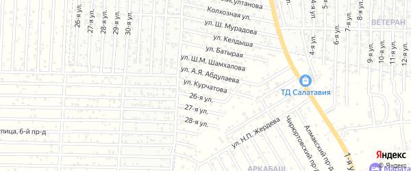Улица Курчатова на карте Юбилейного микрорайона с номерами домов
