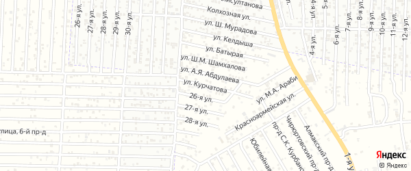 Улица Курчатова на карте Хасавюрта с номерами домов