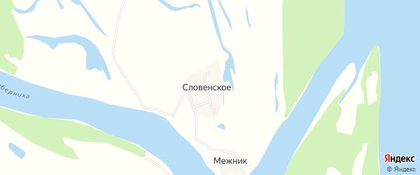 Карта деревни Словенского в Архангельской области с улицами и номерами домов