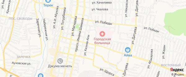 Карта Олимпийского микрорайона города Хасавюрта в Дагестане с улицами и номерами домов