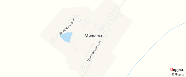 Центральная улица на карте деревни Мижар с номерами домов
