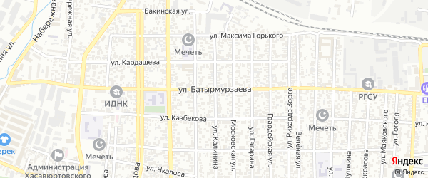 Улица Батырмурзаева на карте Хасавюрта с номерами домов