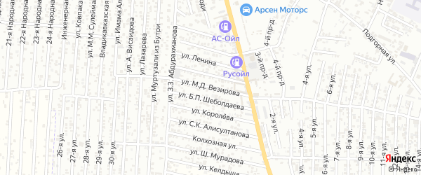 Улица Везирова М.Д. на карте Хасавюрта с номерами домов