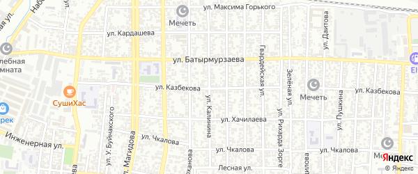 Улица Калинина на карте Хасавюрта с номерами домов