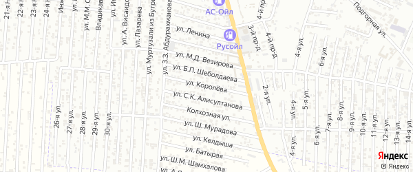 Улица Королева на карте Хасавюрта с номерами домов