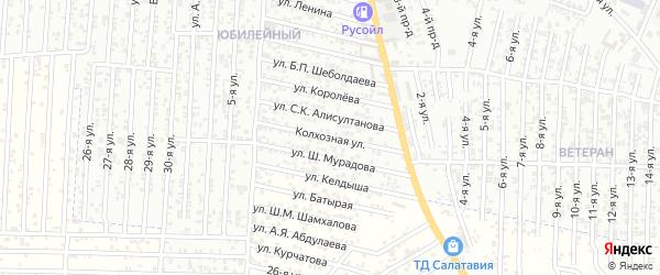 Колхозная улица на карте Юбилейного микрорайона с номерами домов