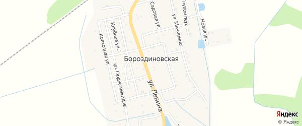 Короткая улица на карте Бороздиновской станицы с номерами домов
