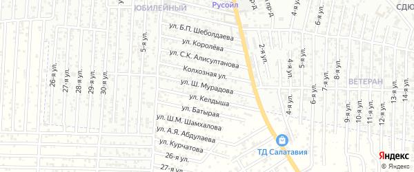 20-я улица на карте поселка Ветеранова с номерами домов