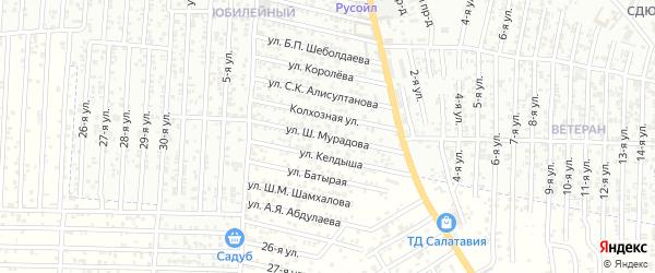 Улица Мурадова Ш. на карте Хасавюрта с номерами домов