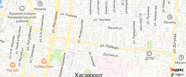 Улица Панфилова на карте Хасавюрта с номерами домов