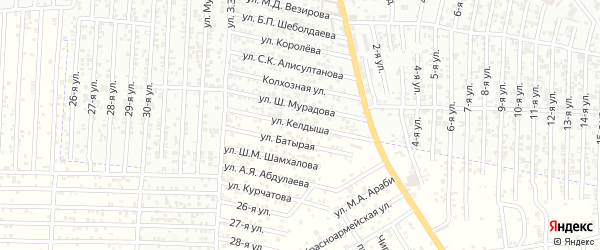 Улица Килдыша на карте Юбилейного микрорайона с номерами домов