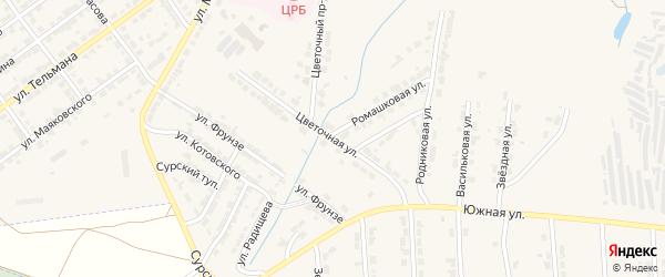 Цветочная улица на карте Алатыря с номерами домов
