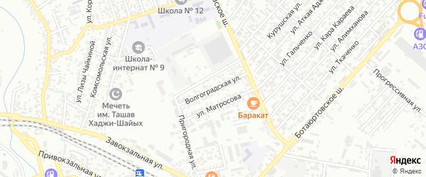 Волгоградская улица на карте Хасавюрта с номерами домов