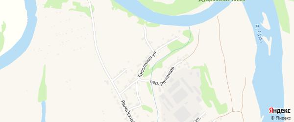 Тополиная улица на карте Алатыря с номерами домов