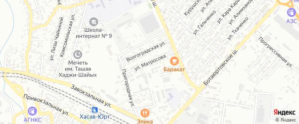 Улица Матросова на карте Хасавюрта с номерами домов