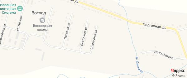 Солнечная улица на карте поселка Восхода с номерами домов