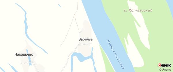 Карта поселка Забелья в Архангельской области с улицами и номерами домов