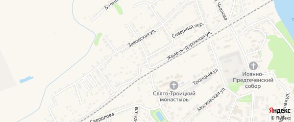 Железнодорожный спуск на карте Алатыря с номерами домов