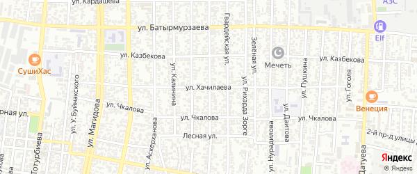Улица Хачилаева на карте Хасавюрта с номерами домов