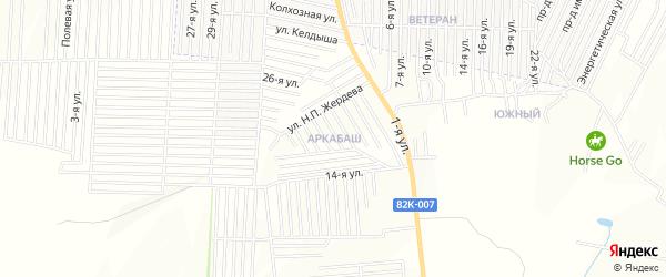 Карта микрорайона Аркабаш города Хасавюрта в Дагестане с улицами и номерами домов