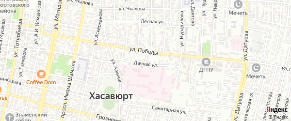 Дачный переулок на карте Хасавюрта с номерами домов