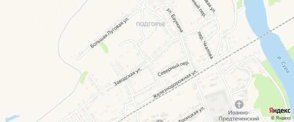 Заводской переулок на карте Алатыря с номерами домов