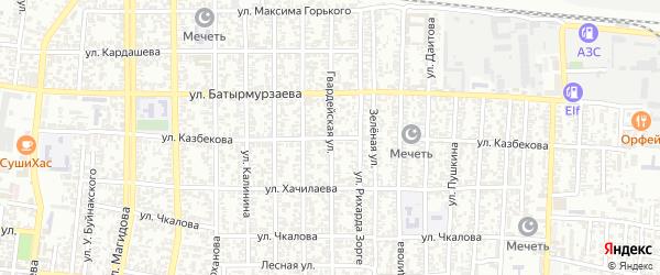 Улица Казбекова на карте Хасавюрта с номерами домов