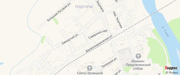Северный переулок на карте Алатыря с номерами домов